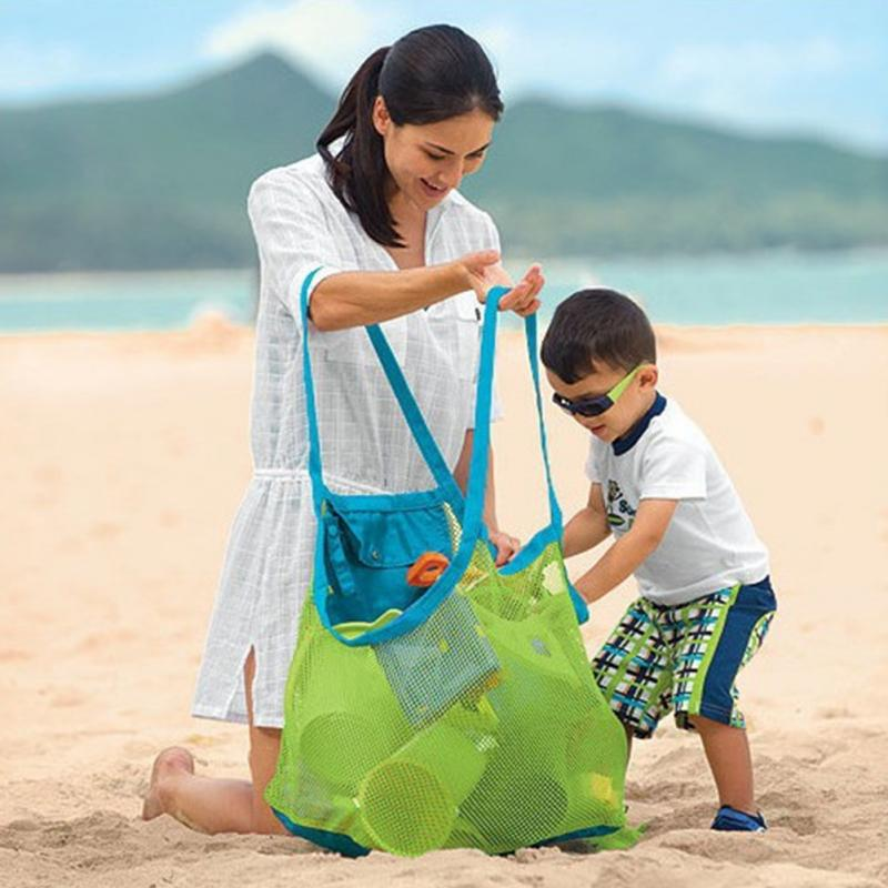 Hot Mom Baby Beach Bags Big Size Women Kids Mesh Bag Messenger Bags Toy Tool Storage Handbag Pouch Tote Children Shoulder Bag(China)