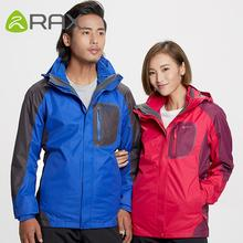 RAX Winter Outdoor Waterproof Jacket Men Women 3 in 1 Windproof Softshell Jacket Hiking Jacket Windbreaker Outdoor Fleece Jacket