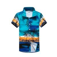 2017 Casual Hawaiian Shirts Men Cotton Floral Brand Clothing Short Sleeve Beach Shirt Camisa Masculina Overhemd