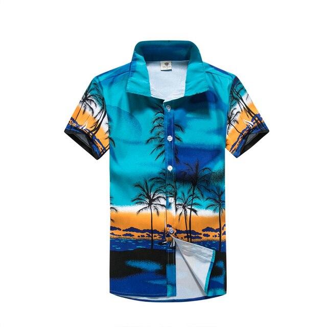 2018 מקרית הוואי חולצות גברים פרחוני הדפסת מותג בגדים קצר שרוול חוף חולצה Camisa Masculina Overhemd Heren M-5XL