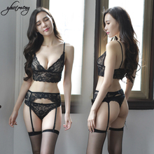 Yhotmeng sexy lady underwear ultra-thin lace 3 pieces bra set transparent lace flower underwear female lace lingerie with garter