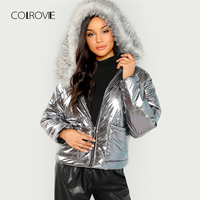 COLROVIE Silver Metallic Puffer Faux Fur Trim Hoodie Winter Padded Jacket Coat Womens Clothing Casual Thick Ladies Outerwear