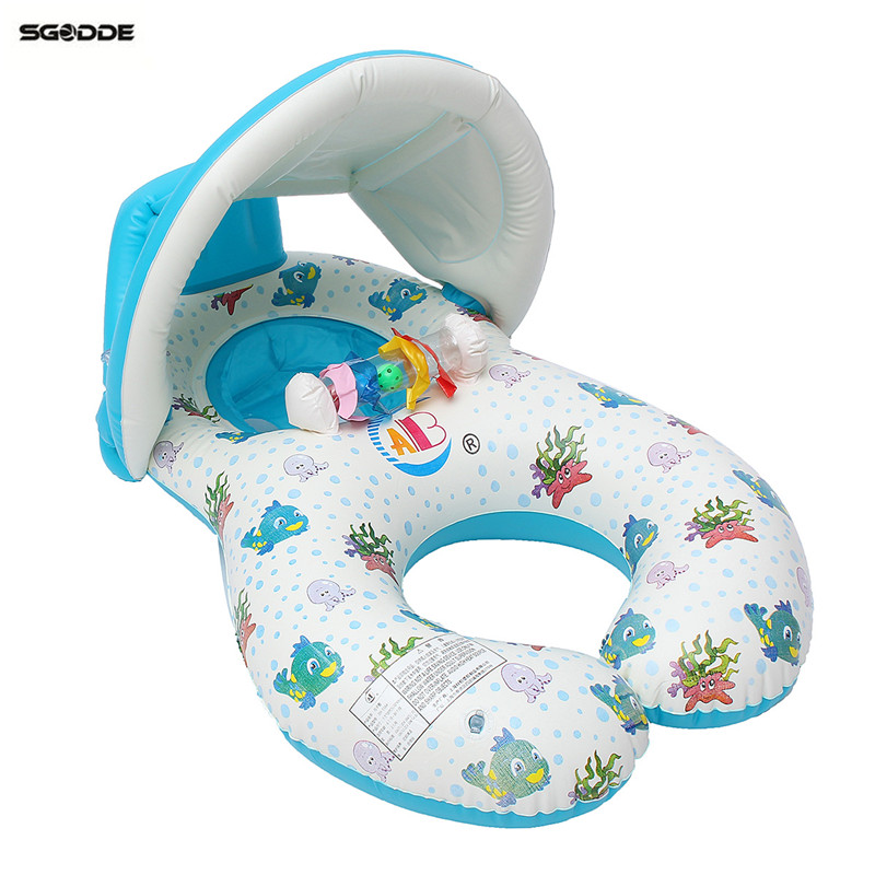 Swimming Pool Baby Swim Seat Float Inflatable Swimming Circle Mother And Baby Sunshade Swim Float Pool Ring With Sunshade