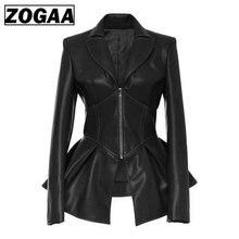 ZOGAA Faux Leather Women Jackets Coat Black Gothic Fashion Pleated V neck 2019 Spring Female PU Plus Size Jacket Coats