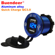 Buendeer Quick Charge QC3.0 Car Motorcycle Dual USB Power Socket Adapter For Huawei HTC with LED Display Dustproof Cover Design(China)