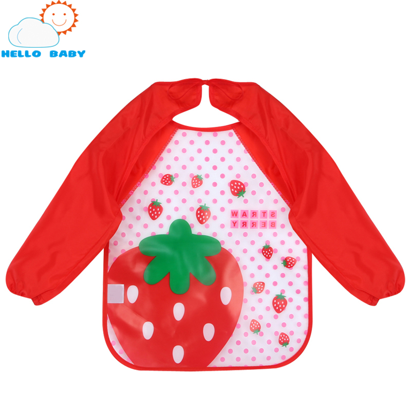 new quality Multi-Colors and Cartoon Printed Long Sleeve Waterproof Coverall Baby Todders Animals Toddler Scarf Feeding Smock