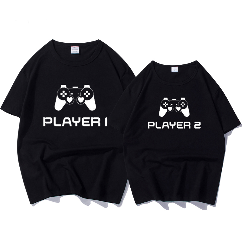 Summer Fashion   T  -  shirt   Couple Tops Women Men Short Sleeve   T     Shirts   for Lover Player Letter Print Tee   Shirt   Tops Camisetas Tops