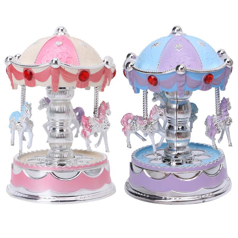 2018 New Carousel Music Box Merry Go Round Musical Plays Gift Toy Kid Wedding Home Decor
