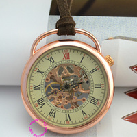 Wholesale Fob Watches Rosegold Good Quality New Bronze Antique Classic Classical Rose Gold Mechanical Pocket Watch