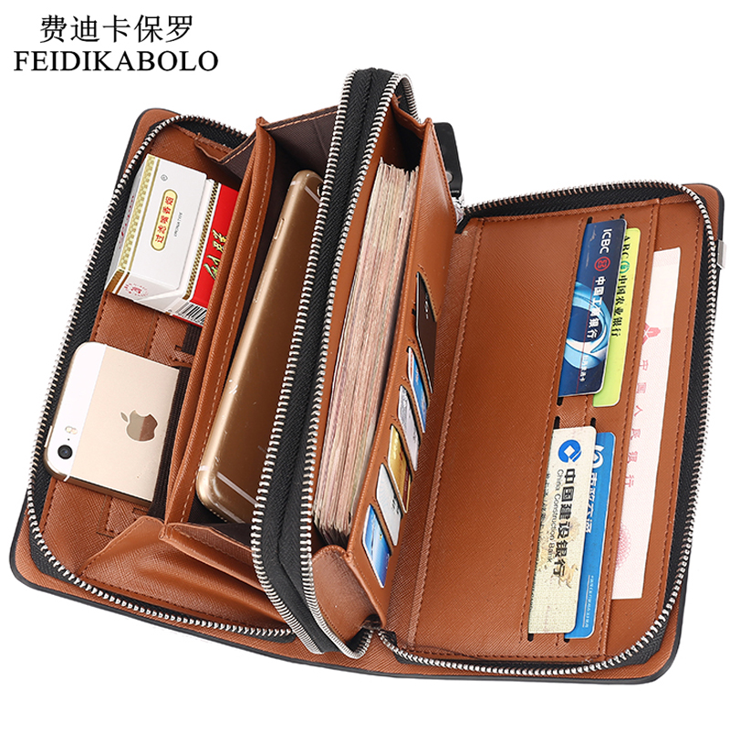 Luxury Wallets Double Zipper Leather Male Purse Business Men Long Wallet Designer Brand Mens Clutch Handy Bag carteira Masculina banlosen brand men wallets double zipper vintage genuine leather clutch wallets male purses large capacity men s wallet