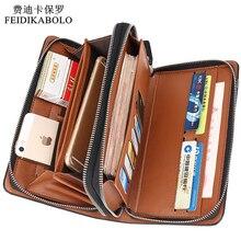 Luxus Brieftaschen Doppel-reißverschluss Leder Männlichen Geldbörse Männer Lange Brieftasche Designer Marke Mens Kupplung Handliche Tasche carteira Masculina