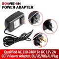 Qualificado AC 110-240 V Para DC 12 V 2A CCTV Power Adapter Abastecimento, UE/EUA/REINO UNIDO/AU Plug Plástico ABS