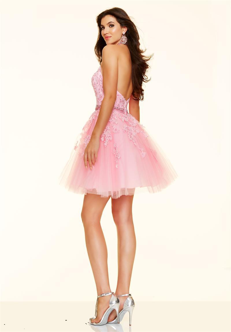 Sexy Halter Short Pink Cocktail Dresses 2016 Backless Robe Short ...