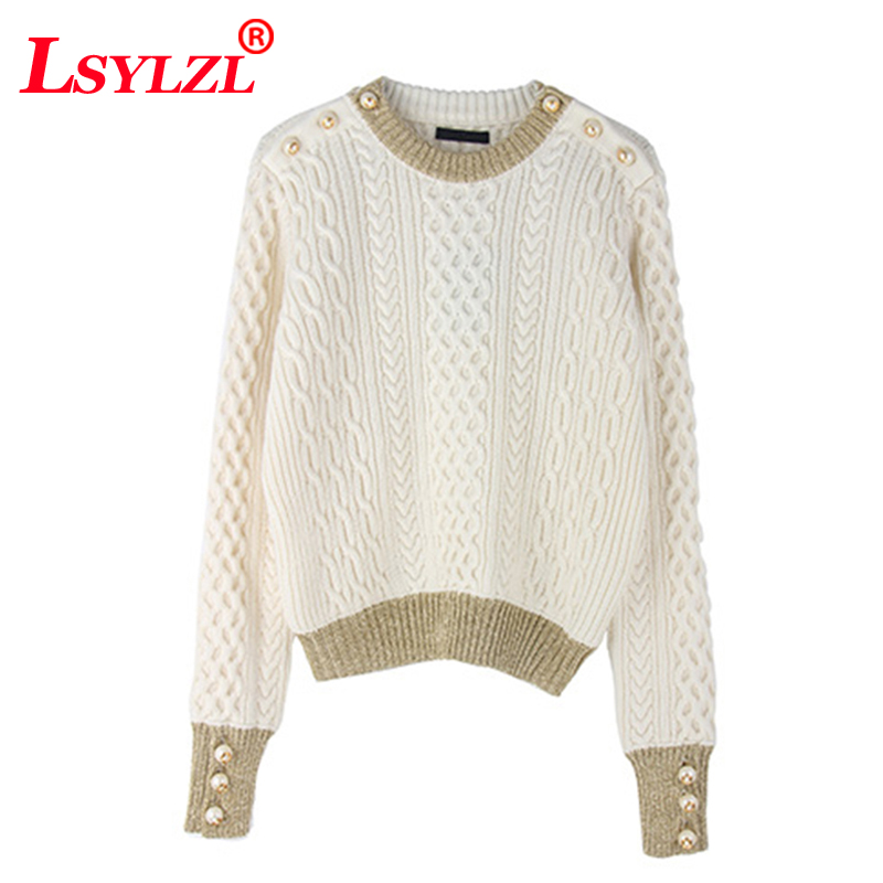 2018 winter women high quality brand warm runway sweater pullover jumper fashion wool knitted pearl button oversized sweaterB947(China)
