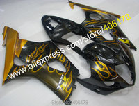 Hot Sales,For Suzuki 2003 2004 GSXR1000 K3 GSXR1000 03 04 Yellow Flame Customized Injection ABS Fairing Kit (Injection molding)