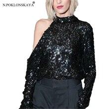 N. POKLONSKAYA, Женская Сексуальная футболка, топы с длинным рукавом, водолазка, модная расшитая блестками рубашка, женские футболки, вечерние, летние, черные