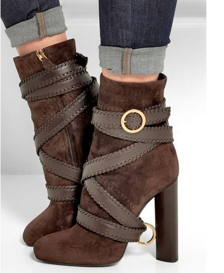 Autumn Winter Warm Women Fashion Boots Belted Suede Leather Ankle Boots Round Thick High Heels Pumps Boots Shoes Free Shipping