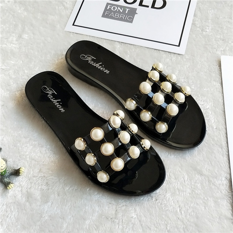 Cut-Out Jelly Sandals Summer Candy Slippers Woman Shoes Flats Ladies Flipflops Womens Zapatos Mujer Slip On Pearl Beach Sliders