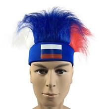 836956e90d4 Russia World Cup Football National Flag Color Hat Wig Polyester football  headband National Flag Headwear 2018