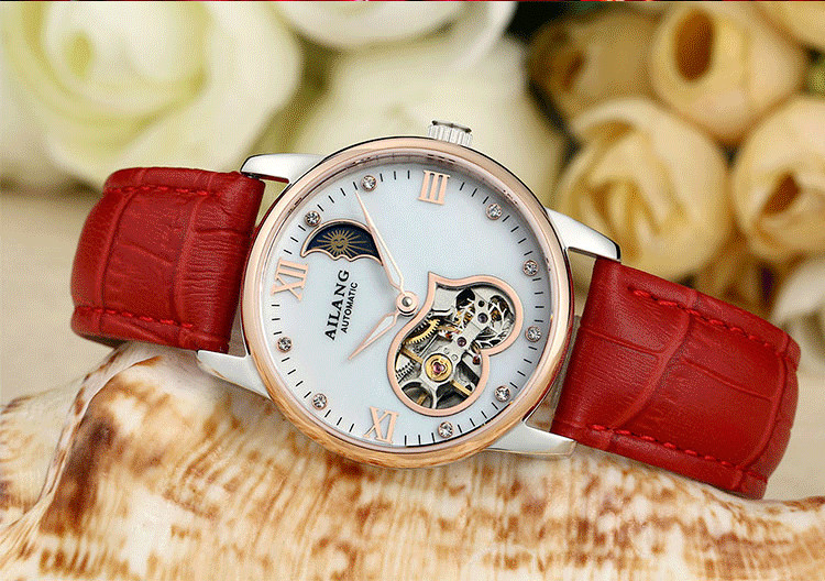 Luxury AILANG Women Moon Phase Mechanical Watches Self Winding Real Leather Dress Wrist watch Sweet Heart Hollow Reloj 3ATM W019Luxury AILANG Women Moon Phase Mechanical Watches Self Winding Real Leather Dress Wrist watch Sweet Heart Hollow Reloj 3ATM W019