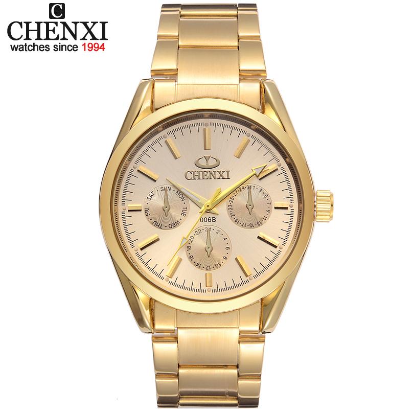 Prix pour Nouveau CHENXI Marque Mens Or Montre De Luxe Montre-Bracelet À Quartz Mâle mode Homme Horloge D'or IPG Acier Inoxydable Montres Cadeau Pour hommes