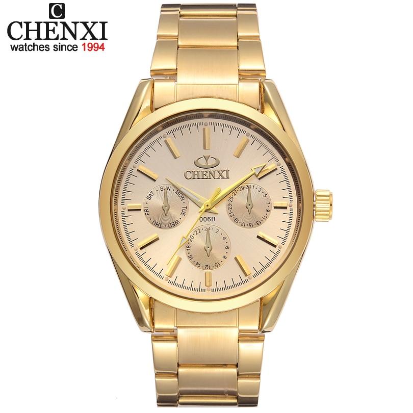 eea2c2e8798 Nova CHENXI Marca Mens Relógio De Ouro De Luxo relógio de Pulso de Quartzo  Masculino Homem moda Relógio de Ouro de Aço Inoxidável IPG Relógios  Presente Para ...