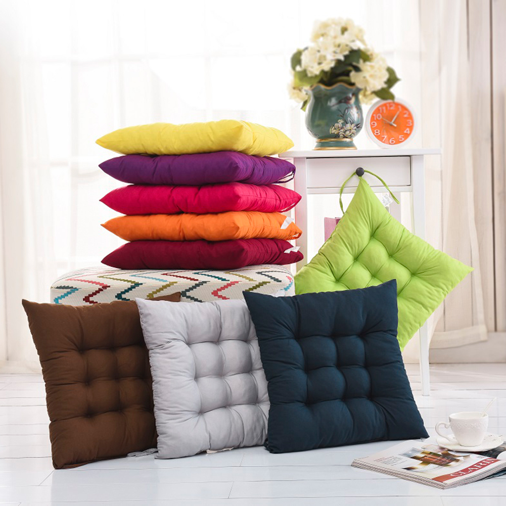 Soft comfortable home office decor square cotton seat for Chair pillow