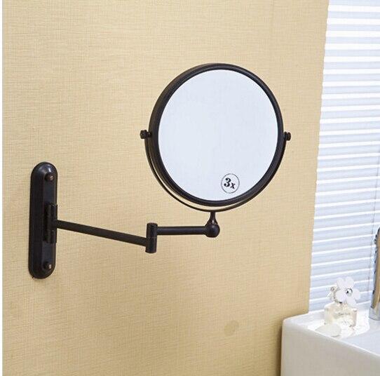 High quality 8 Black antique Makeup mirrors 1x3 magnifier Copper Cosmetic Mirror Bathroom Double Faced Wall mounted Bath Mirro bakala dual makeup mirrors 1 1 and 1 3 magnifier copper cosmetic bathroom double faced bath mirror wall mirror br 6738