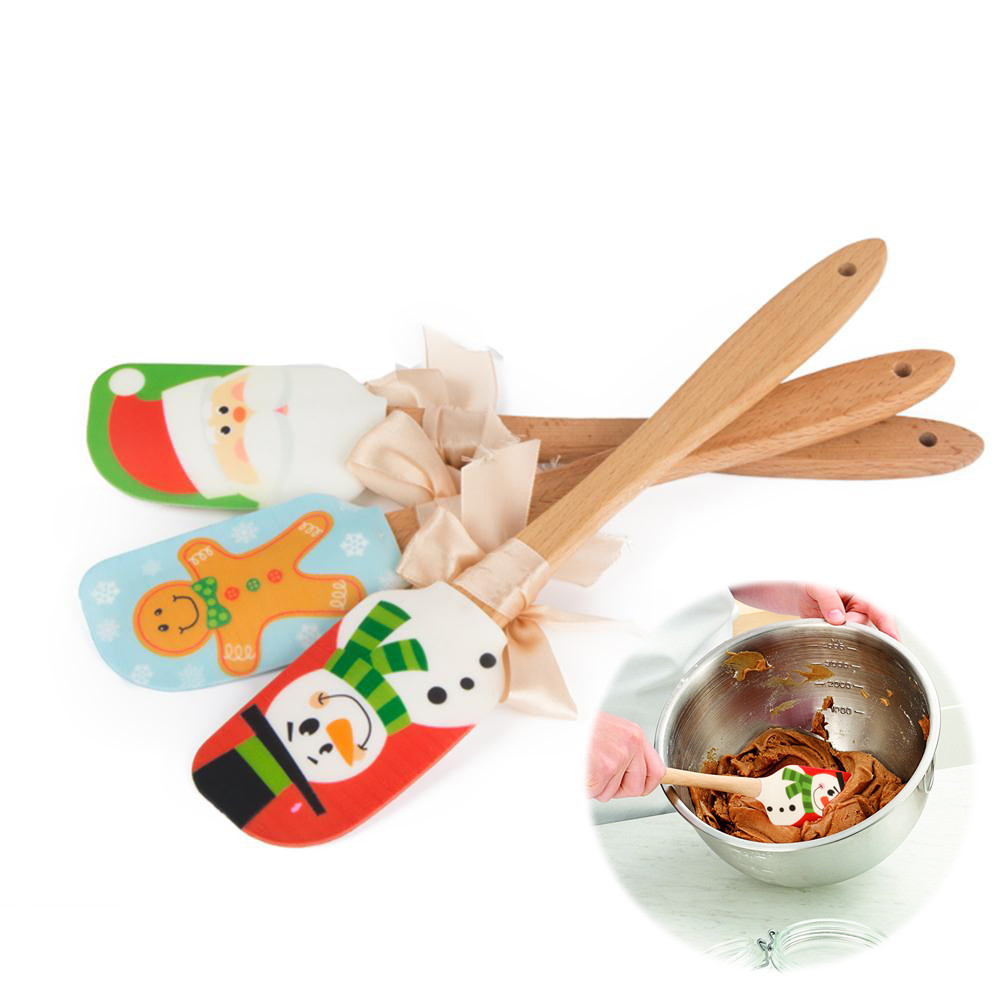Christmas Design Spatula Wooden Handle Silicone Scraper Cake Cream Mixing Knife Baking Tools Kitchen Gadget Christmas Decoration|Squeegees|   - AliExpress