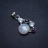 Natural Moonstone,Amethyst and Blue topaz 925 Sterling Silver Pendant 1.5 U0543