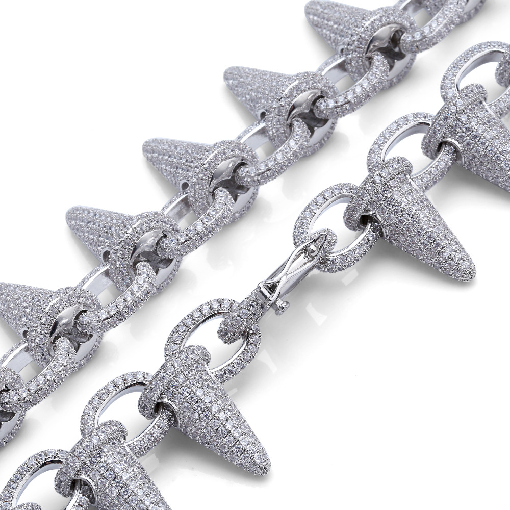 Luxury Punk Fashion Rock Iced Out Rivet Spikes Cuff Bangles Bracelets Bling Cubic Zircon Hip Hop Gold Silver Gifts for Men Women