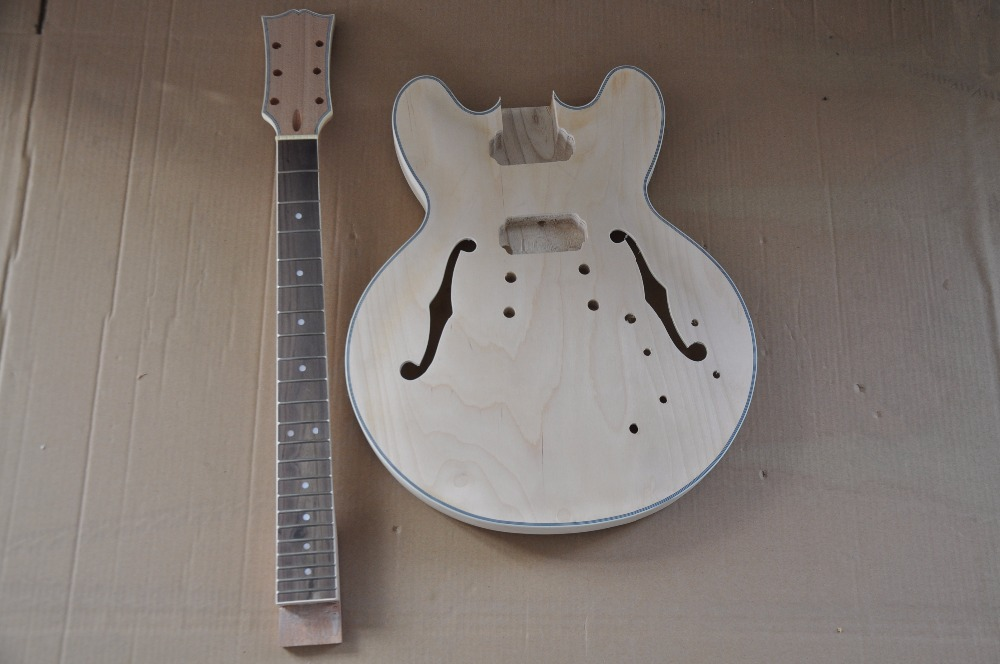 free shipping body and neck 335 electric Guitar Unfinished Kits jazz guitar DIY hollow body guitar kits free shipping new big john unfinished connecting electric guitar in natural with alder body without paint f 1993