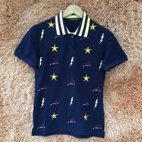 True Reveler Men Polo Shirts Embroidery Star Lightning Rabbit Summer Tops Color Blue Black