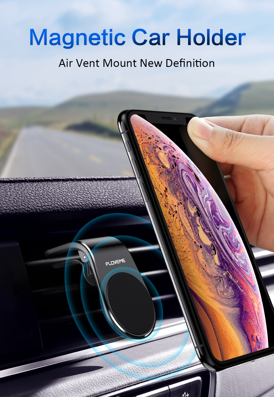 Magnetic Car Mount Holder, FULL ALLOY METAL Venroii 4326547369 Universal Air Vent Outlet 360 Rotate Magnetic Car Mount Bracket Phone Holder for iPhone 7 6S 6 Plus,5,5s,4,Samsung Galaxy S7 S8 Edge S5 Note Silver