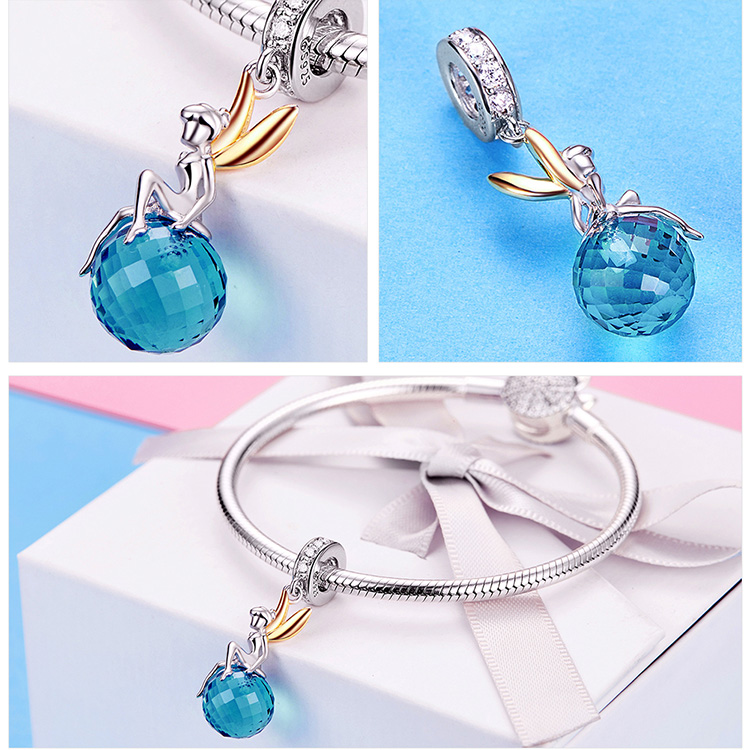 Authentic 925 Sterling Silver Elf Planet Blue Zircon Pendant Charms fit Original Necklaces & Bangles Jewelry Gift