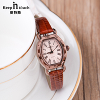 KEEP IN TOUCH New Arrvie Leather Women Watch Casual Dress Quartz Ladies Watch Rose Gold Montre Femme with Original Gift Box