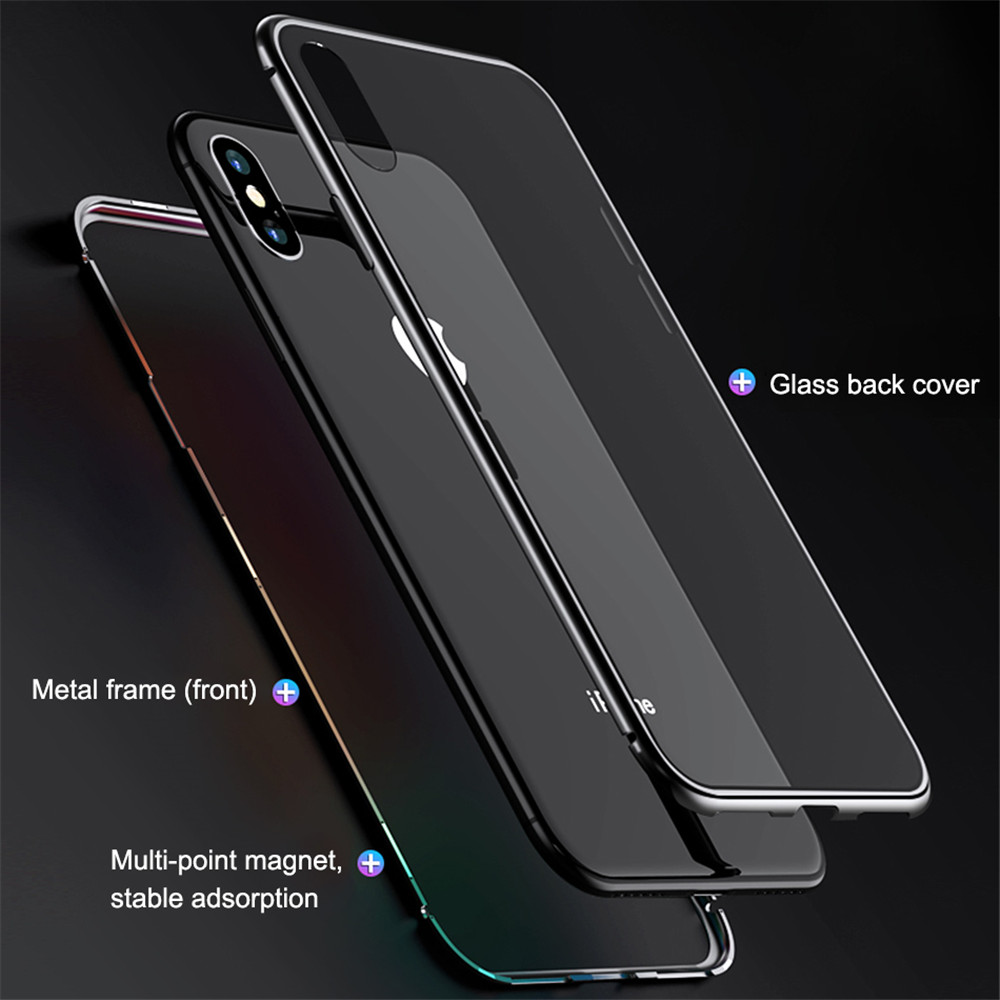 360 Double Sided Magnetic Adsorption Phone Case For iPhone 7Plus XR XS Max X 8 7 6 6S Plus Metal Magnet Tempered Glass Capinhas