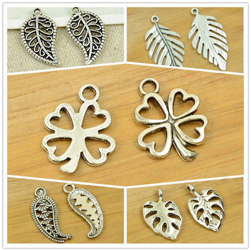 5pcs Stainless Steel Assorted Feather Wing Dangle Pendant Charms DIY Accessories