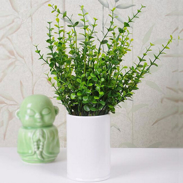 Attractive Small Plants For Home Part - 1: 7 Branches Plant Flowers Home Decor 2016 Eucalyptus Grass Green Artificial  Plastic Decoration Small Leaves Plants