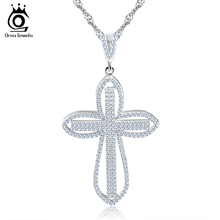 ORSA JEWELS Luxury Cubic Zirconia Paved Cross Pendant Silver Color Charming Necklace for Girl's Gift Fashion Women Jewelry ON118