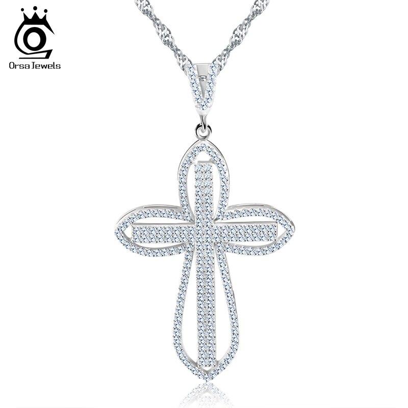 ORSA JOYAUX De Luxe Zircon Cubique Pavé Pendentif Croix Couleur Argent Charme Collier pour Fille Cadeau de Mode Femmes Bijoux ON118