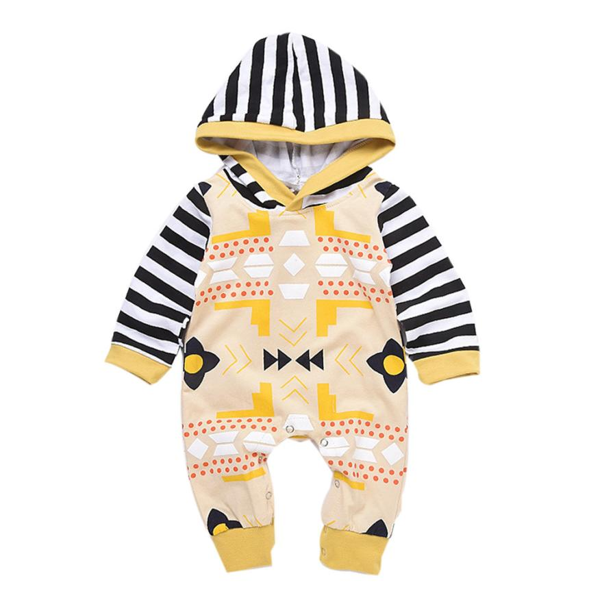 2017 Striped Baby Boy clothes Hooded roupas de bebe menino girl infant clothing Romper Jumpsuit Outfits L1129 newborn baby girl clothes brand baby 4pcs clothing sets tutu romper roupas de bebes menina infant 0 2t baby christmas outfits