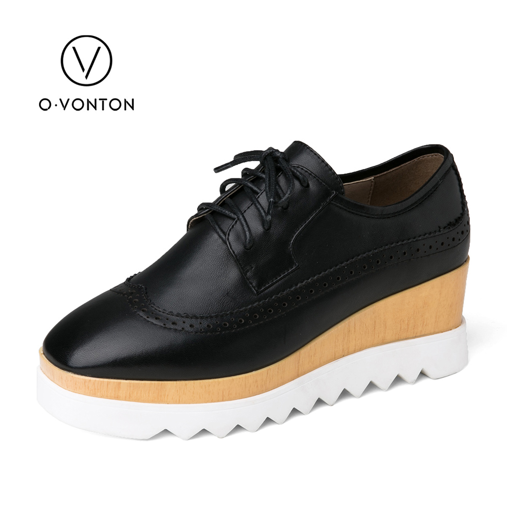 Q.VONTON Women Platform Shoes 2017 Fashion Genuine Leather Wedge Heels Leisure Lace Up Handmade Shoes British Style Black Pumps nayiduyun fashion women cow leather lace up fashion high heels wedge sneakers platform party pumps low top casual punk greepers