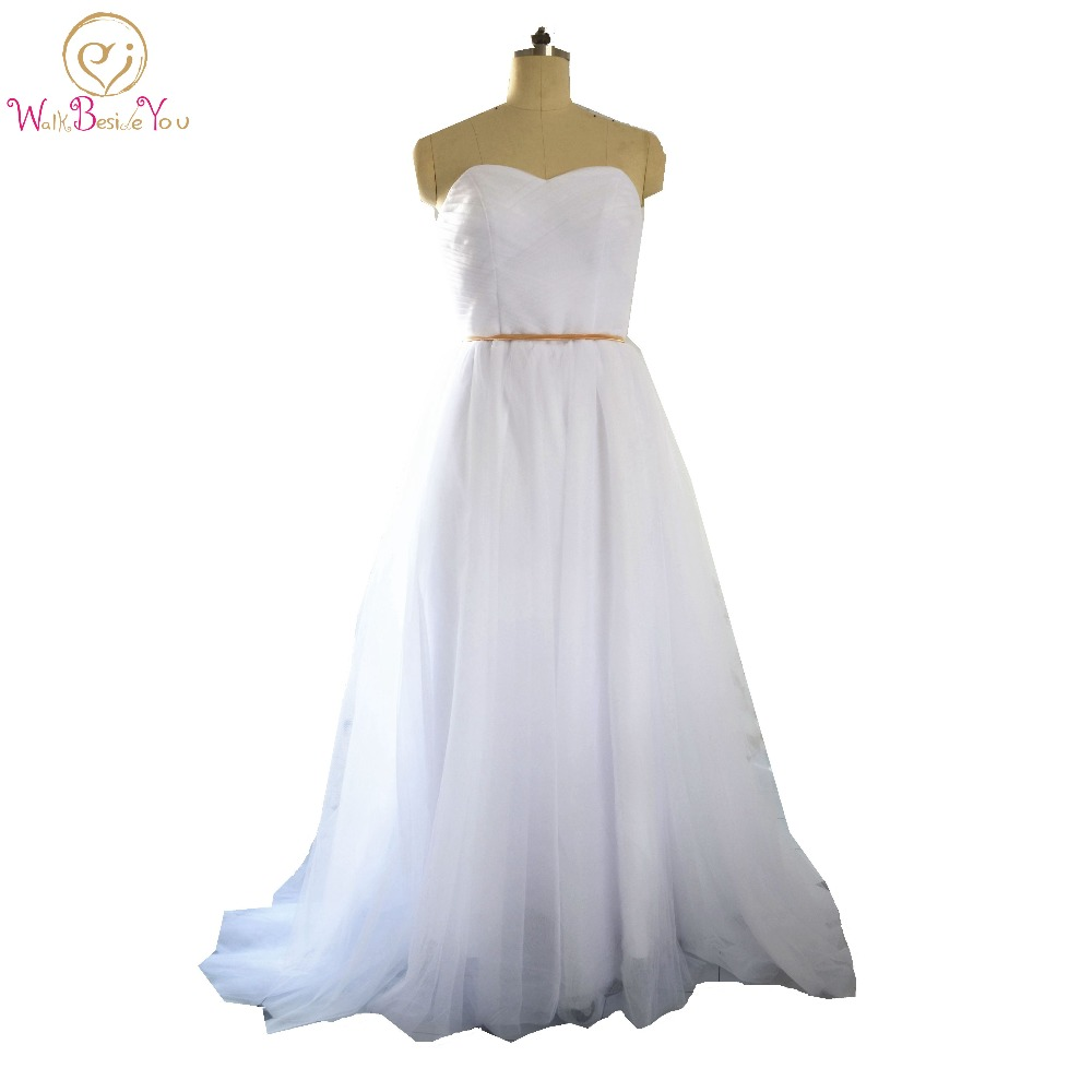 Country Style Sweetheart Tulle A Line Wedding Dress With Gold Belt ...