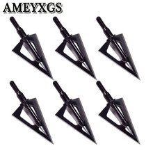 6/12Pcs 100 Grain Hunting Arrowhead Screw-In Broadhead Stainless Steel Arrow Head Outdoor Shooting Archery Accessories