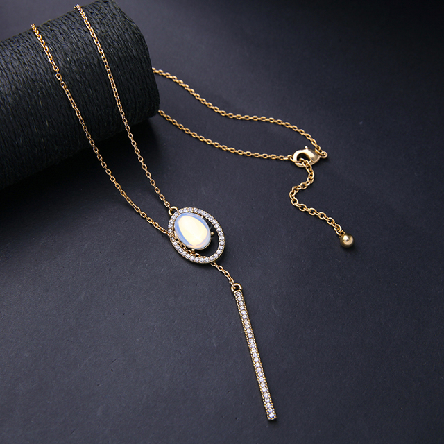 Simple Fashion Oval White Opal Necklace From India Dainty Jewelry 2016 New Necklaces & Pendants Christmas Gift