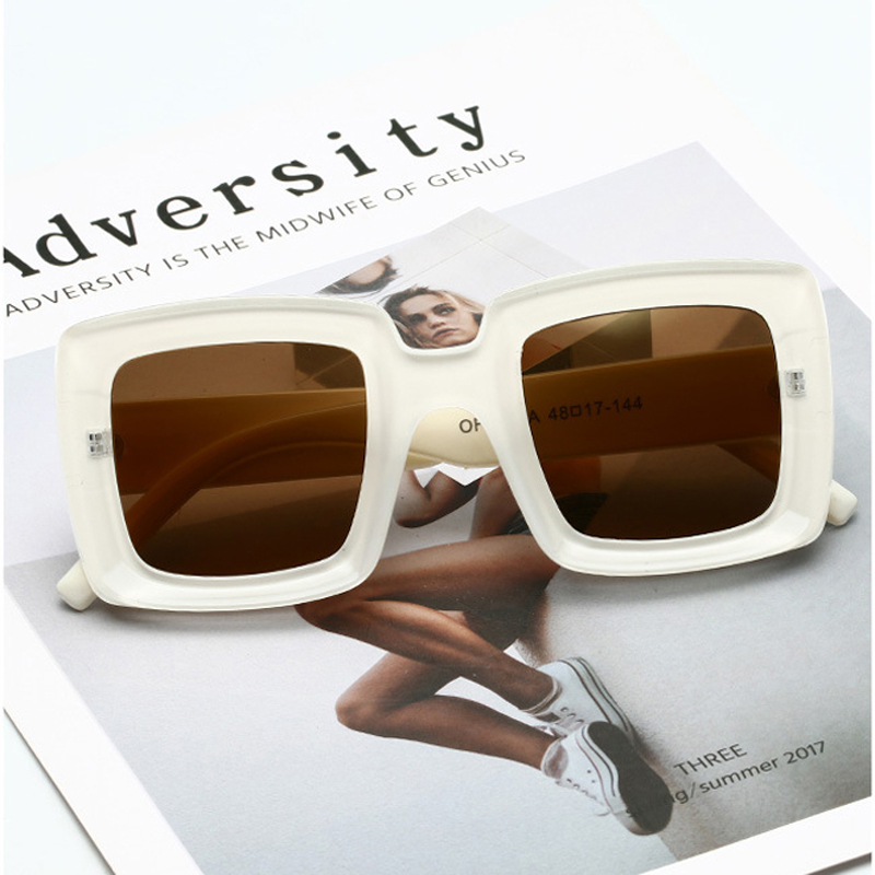 MIZHO Fashion Protable Square Sunglasses Women Vintage 2019 Quality White Gradient Sun glasses Celebrity Oversized Ladies Brand in Women 39 s Sunglasses from Apparel Accessories