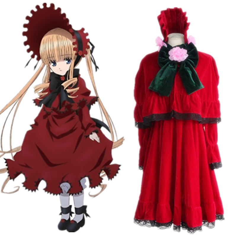 Shinku cosplay costumes red lolita dress Japanese anime Rozen Maiden clothing(dress+shawl+Bloomers+hair accessory+two bow)