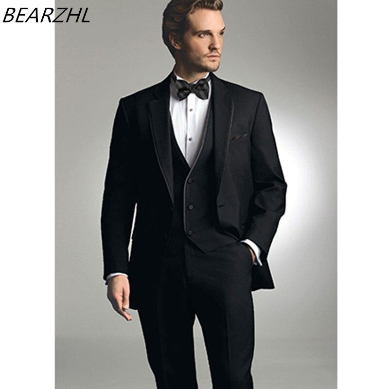 bespoke font b suits b font groom tuxedo black custom made font b suit b font