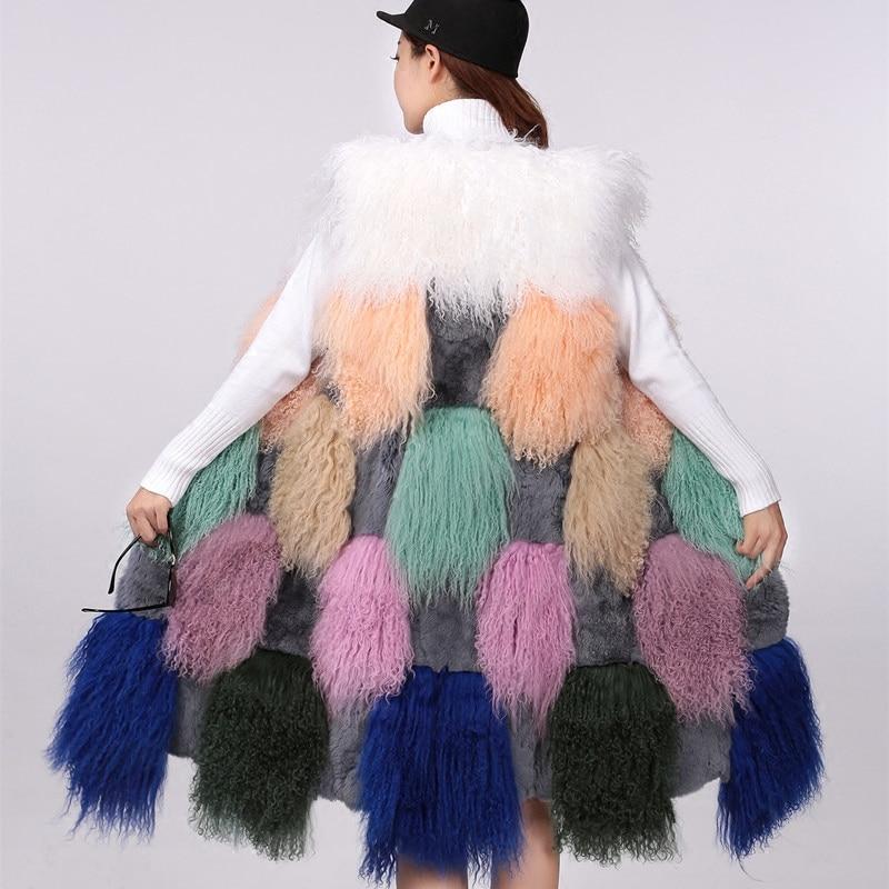 Mixcolored Lapin Agneau Mouton Long Réel 2 Nouveau Fourrure Peau 100 Avec Chaud Mongolie Xl Gilet Dans Épais à Femmes Mix De En Color Cm 1 Color TF1lJKc